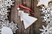 White wooden christmas tree inside of frame — Stock Photo