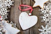 White wooden heart inside of frame — Stock Photo