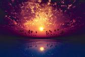Big moon over purple sunset — Stock Photo