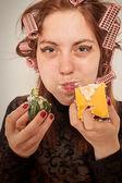 Gluttonous woman — Stock Photo