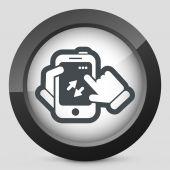 Smartphone icon. File transfer. — Vector de stock
