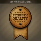 Leather authentic quality label — Stok Vektör