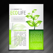 Eco friendly flyer brochure design template — Stock Vector