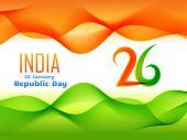 Disegno di giorno Repubblica indiana fatta in illustrazione di stile dell'onda — Vettoriale Stock