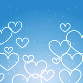 Blue background with multiples hearts  — Vetor de Stock