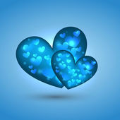 Beautiful heart illustration in blue background — Vecteur