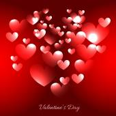 Valentine day hearts illustration in red background — Stockvector