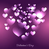 Valentine day hearts illustration in purple background — Vetor de Stock
