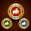 Leader of sales vector golden label badge with set of three diff — Stock Vector #69486329