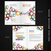 Colorful bifold brochure design with circles — Stock Vector