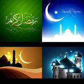 Vector set of beautiful background of ramadan kareem festival — Stock Vector