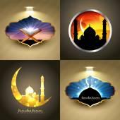 Vector attractive set of ramadan kareem festival background illu — Stock Vector
