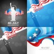 Vector set of 4th july american independence day background — Stock Vector #75922669
