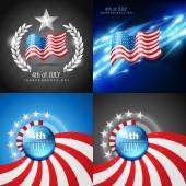 Vector set of 4th july american independence day background — Stock Vector