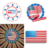 Stylish set of 4th july american independence day background  — Stock Vector