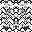 Zig zag seamless pattern with black dots and lines over white ba — Stock Photo #52881719