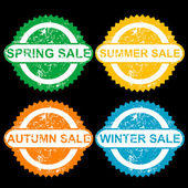 Rubber stamps with texr spring sale, sumer sale, autumn sale and — Stock Photo
