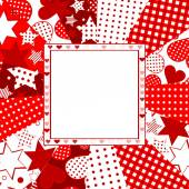 Valentine celebration card with hearts, stars and dots — Stock Photo