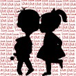 Card with cartoon silhouettes of a boy and a girl kissing — Stock Photo #53795135