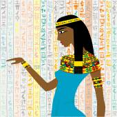 Ancient Egyptian woman over a background with Egyptian hieroglyp — Stockfoto
