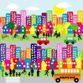 Cartoon city with people pictograms — Stock Photo