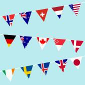 Bunting with flags of the most developed countries in the World — Stock Photo
