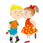 Girl giving a shameful boy a kiss on the cheek — Stock Photo