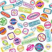 Seamless pattern with stamps with discount and sale messages — Stock Photo