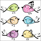 Set of colorful patterned birds — Stock Photo