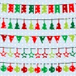 Christmas background with garlands and buntings over a snowflake — Stock Photo #54284605