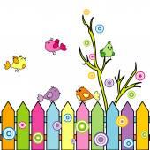 Card with cartoon birds on a fence — Stock Photo