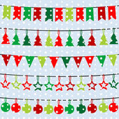 Christmas background with garlands and buntings over a snowflake — Stock Photo