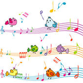 Music note with cartoon birds singing — Stock Photo