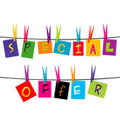 Special offer words hanging on a rope — Stock Photo