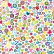 Flower power background seamless pattern with flowers, peace sig — Stock Photo #54814751