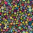 Seamless pattern of flowers, circles, hearts, butteflies and pea — Stock Photo #54814787