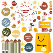 Autumn sale - set of stickers and labels — Stock Photo