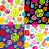 Set of four seamless pattersns with round shapes — Zdjęcie stockowe