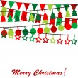Merry Christmas card with bunting and garlands — Stock Vector #55483965