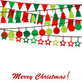 Merry Christmas card with bunting and garlands — Stock Vector