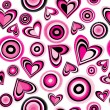 Pink hearts and circles — Stockvector  #55973807