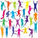 Colored children silhouettes — Stock Vector #55974551