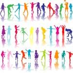 Colored children silhouettes — Stock Vector #55975633