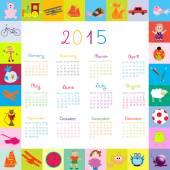 2015 calendar for kids — Stock Vector