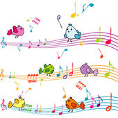 Cartoon birds singing — Stockvektor
