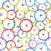 Pattern with colorful clocks — Stock Vector