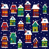 Christmas background with houses — Stock Vector