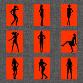 Sexy women silhouettes — Stock Vector