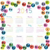 2015 calendar with vitamins and minerals — Stock Vector