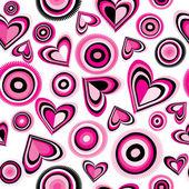 Pink hearts and circles — Stock Vector